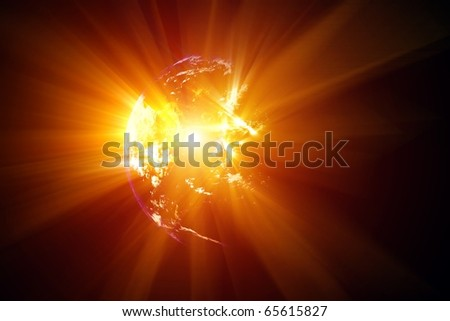 2012 abstract background - planet explosion - stock photo