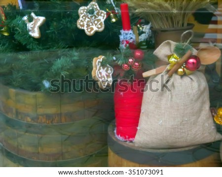 Abstract blurred Beautifully decorated Christmas window in the city. Great backgound                               - stock photo