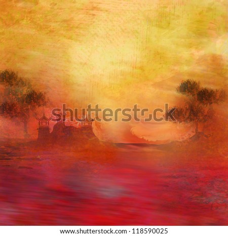 abstract Chinese landscape - stock photo