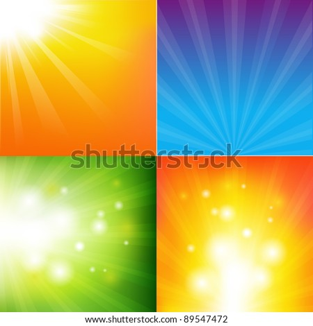 4 Abstract Color Sunburst Backgrounds - stock photo