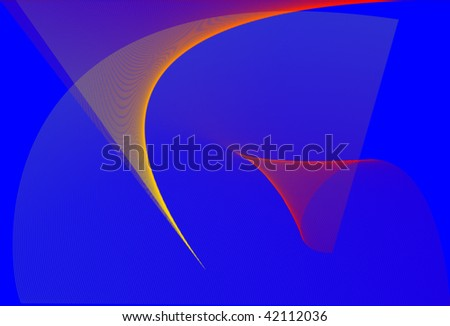 Abstract drawing. Curved space on blue background