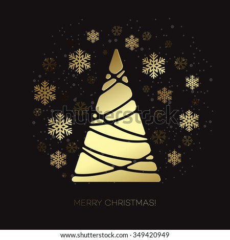 Abstract gold Christmas tree.  Holiday background with gold snowflakes. Merry Christmas greeting card. Raster copy - stock photo