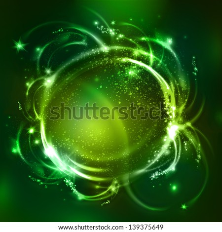 Abstract green background with glossy bubbles. Raster copy of vector. - stock photo
