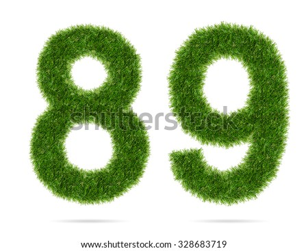 8, 9 - Abstract green grass alphabet number isolated on white background with clipping path. - stock photo