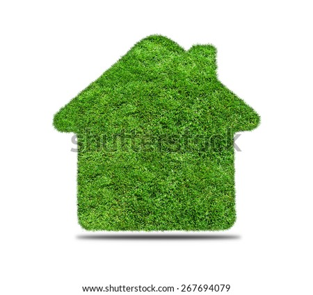 Abstract green grass house icon on over white background. Ecology concept - stock photo
