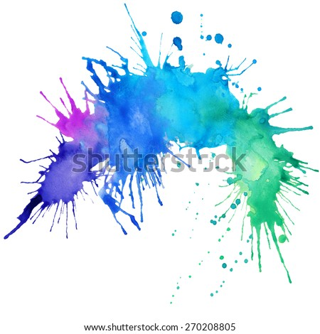 abstract hand drawn watercolor splash blot background - stock photo