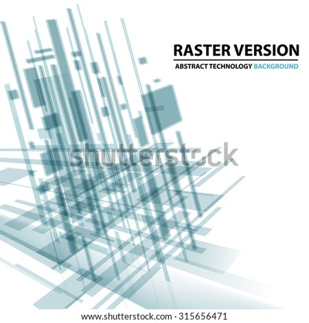 Abstract modern cover with text and heading. Technology or business or science  blue and green background. Digital design, transparent geometric shapes. Futuristic style. Raster version - stock photo