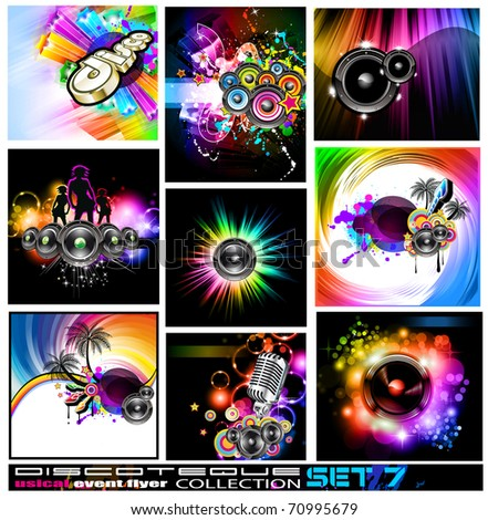 9 Abstract Music Backgrounds for Discotheque Flyer with a lot of design elements - Set 7 - stock photo