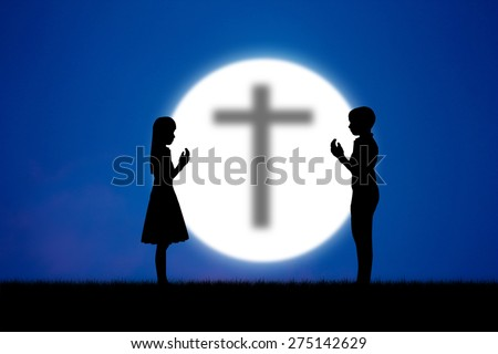 Abstract silhouette people praying in blue sky at night moon.