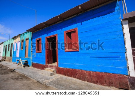 ACARI - PERU: colorfull house in Acari Peru - stock photo
