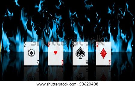 4 Ace line up with blue fire background - stock photo