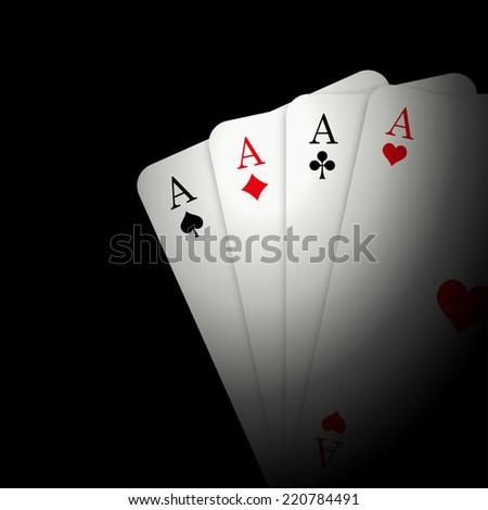 4 Aces on black background - stock photo