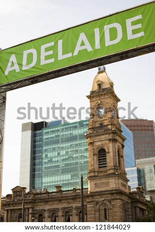 """""""ADELAIDE"""" banner and buildings in downtown Adelaide, Australia - stock photo"""