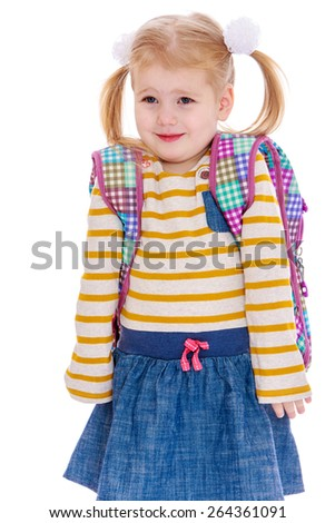 Adorable little blonde schoolgirl. - isolated on white background - stock photo