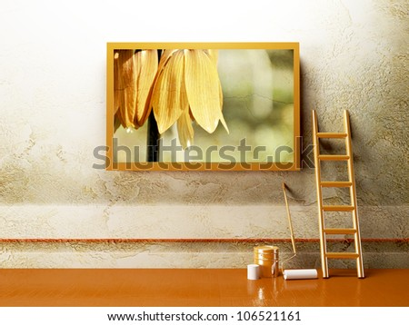 advertising billboard with a flower on the creative wall - stock photo