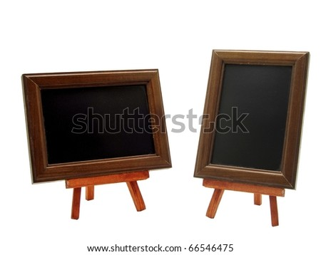 2 advertising blackboards with copy space on a white background - stock photo