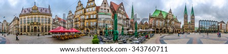 360° Aerial Panorama of ancient Market Square in the centre of the Hanseatic City of Bremen with view on famous Raths-Buildings, Church of Our Lady, town hall and St. Petri Dom zu Bremen, Germany - stock photo