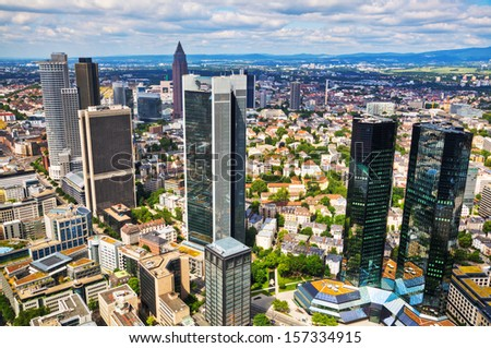 aerial view of Frankfurt in Germany - stock photo