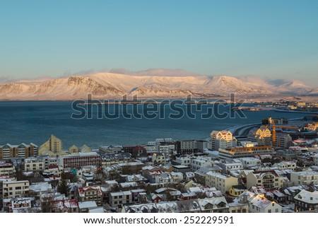 Aerial View of Reykjavik in Winter - stock photo