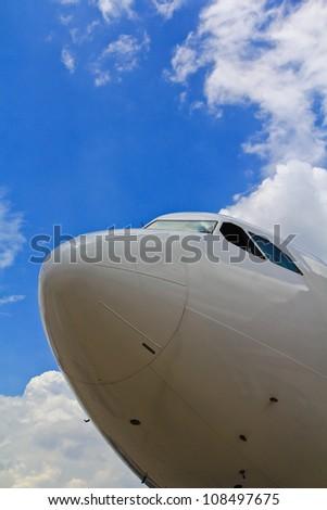 aeroplane ,Aircraft Airport parking - stock photo