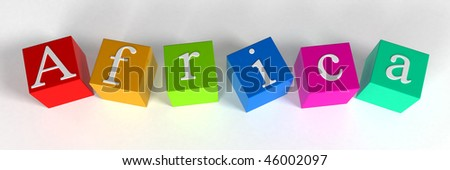 """""""africa"""" phrase compiled with a cubes - 3d rendering - stock photo"""