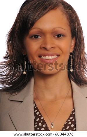 african-american businesswoman posing on a white background