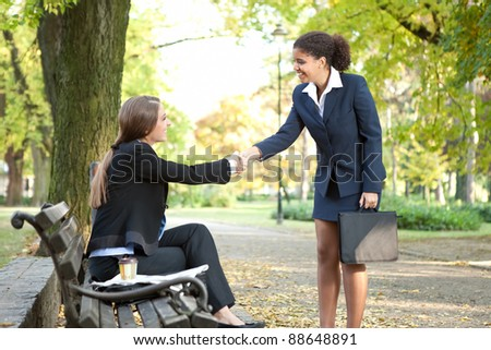 African American businesswoman shaking hands with businesswoman in park