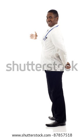 African American doctor presenting something isolated over white background