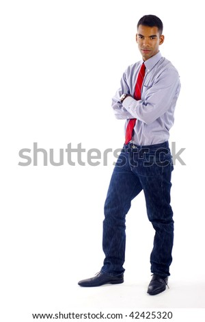 African American / Hispanic mixed business man full body ,a lot of copyspace,  Isolated over a white background - stock photo