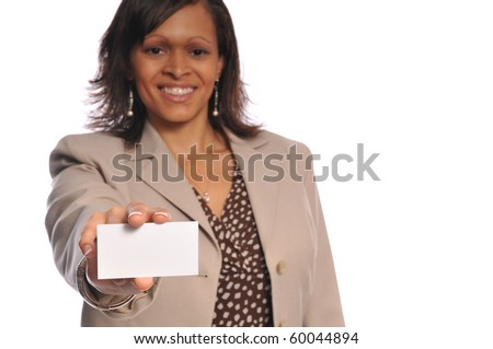 african-american woman holding a blank businesscard on a white background - stock photo