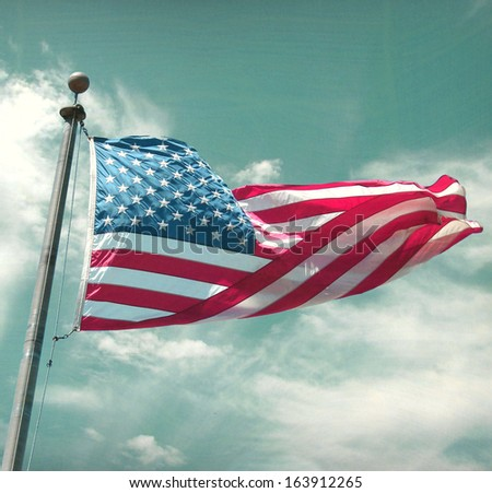 aged and worn retro photo of american flag                            - stock photo