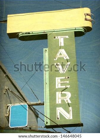aged and worn vintage neon tavern sign                              - stock photo