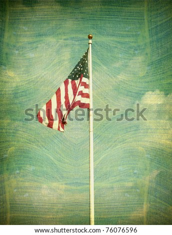aged and worn vintage photo of american flag
