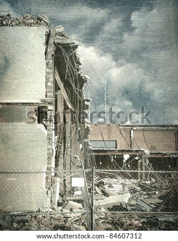 aged and worn vintage photo of destroyed building after disaster - stock photo