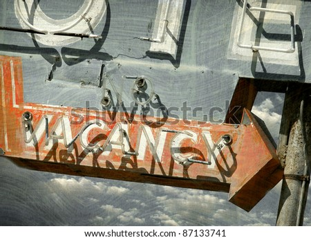 aged and worn vintage vacancy sign - stock photo