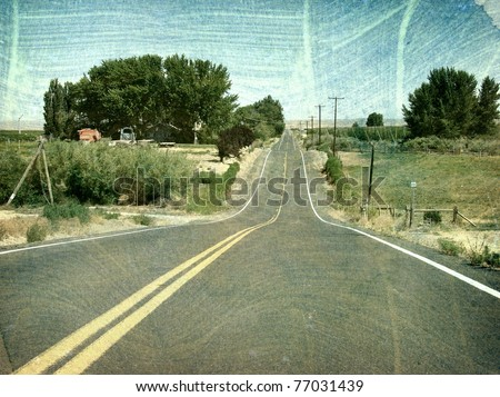aged vintage photo of country road - stock photo