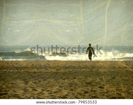 aged vintage photo of surfer approaching ocean - stock photo