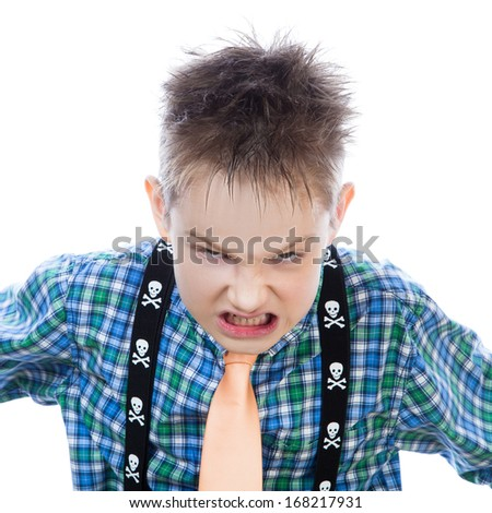 Aggressive little boy shouts at the camera on the white background - stock photo