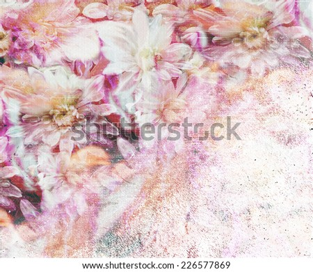 Aging grunge stained and striped floral wall background                               - stock photo