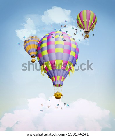 Air balloons in the sky. Illustration - stock photo
