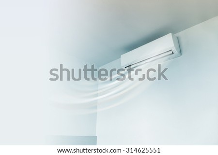 Air conditioner on wall background  - stock photo