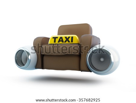 air taxi, seat taxi with an engine from the airplane 3d Illustrations on a white background  - stock photo