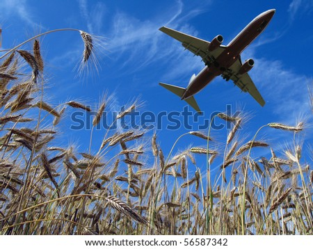 Aircraft taking off over a scenic wheat field - stock photo