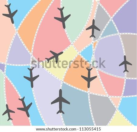 Airplane destination routes - stock photo