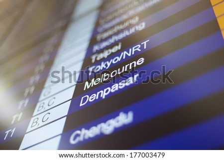 Airport arrival board in airport terminal. Travel concept. Melbourne in focus. - stock photo