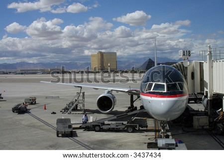 """Airport Scenic"" A jetliner at the airport terminal waits for passengers and baggage."