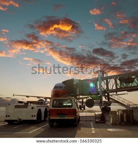 Airport tarmac - stock photo