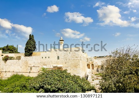 Al-Aqsa Mosque on the Temple Mount in Jerusalem - stock photo