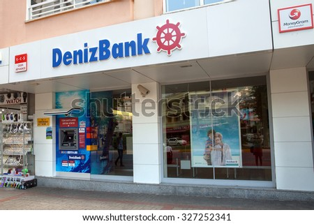 Alanya, Turkey - October 08, 2015: The office of DenizBank in Alanya. DenizBank is a member of Russian Sberbank Group.