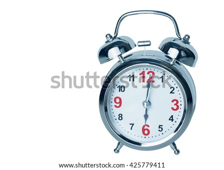 Alarm clock, isolated on the white background, clipping path included.